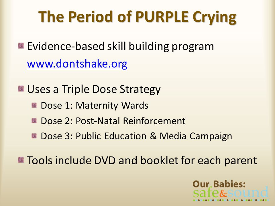 The Period of PURPLE Crying Evidence-based skill building program www.dontshake.org Uses a Triple Dose Strategy Dose 1: Maternity Wards Dose 2: Post-Natal Reinforcement Dose 3: Public Education & Media Campaign Tools include DVD and booklet for each parent
