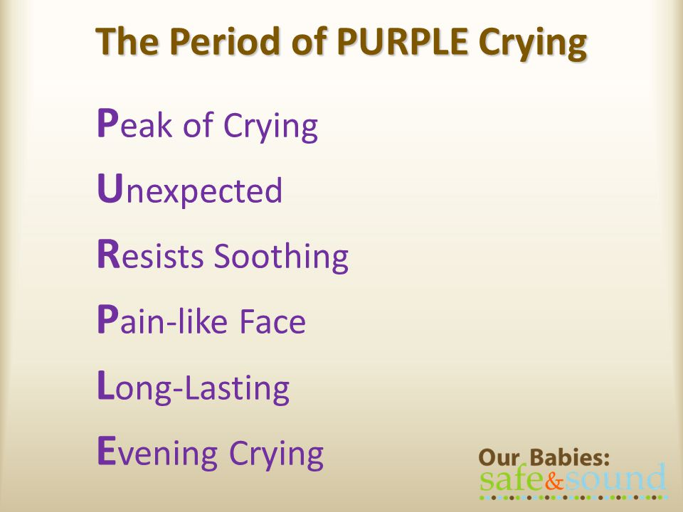 P eak of Crying U nexpected R esists Soothing P ain-like Face L ong-Lasting E vening Crying