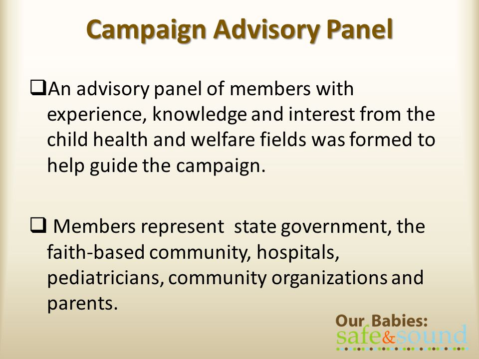 Campaign Advisory Panel An advisory panel of members with experience, knowledge and interest from the child health and welfare fields was formed to help guide the campaign.