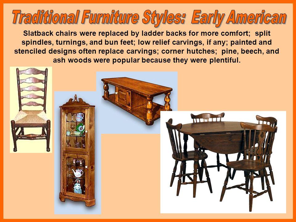 Boston, Newport, New York, and Philadelphia emerged as design centers, each with their own distinct styles or modifications on traditional European styles; chairs became contoured; couches and upholstered pieces were popular including the wing chair; The Windsor chair from England was introduced as a rocker in Boston; secretary pieces became popular; highboys and lowboys were introduced to replace chests; brass hardware