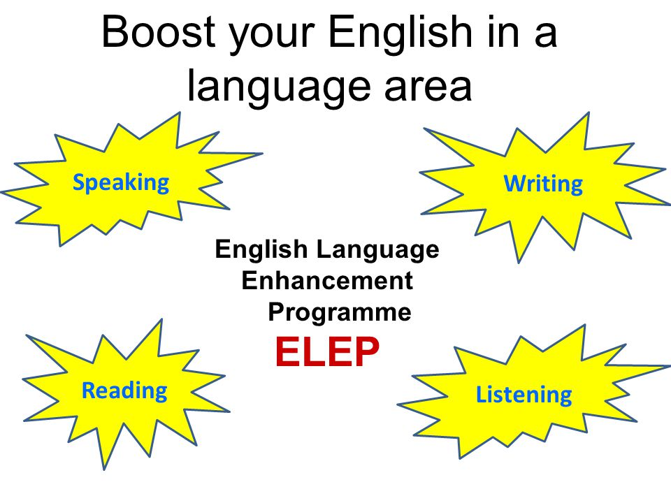 English Language Enhancement Programme ELEP Speaking Reading Listening Writing Boost your English in a language area
