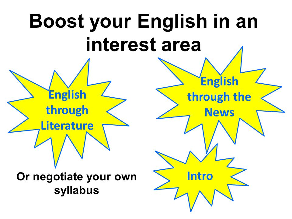 Or negotiate your own syllabus Intro English through the News English through Literature Boost your English in an interest area