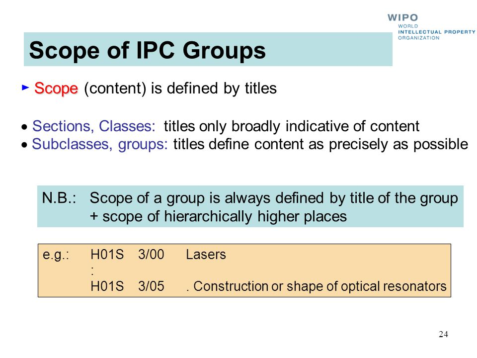 24 Scope of IPC Groups Scope Scope (content) is defined by titles Sections, Classes:titles only broadly indicative of content Subclasses, groups: titl