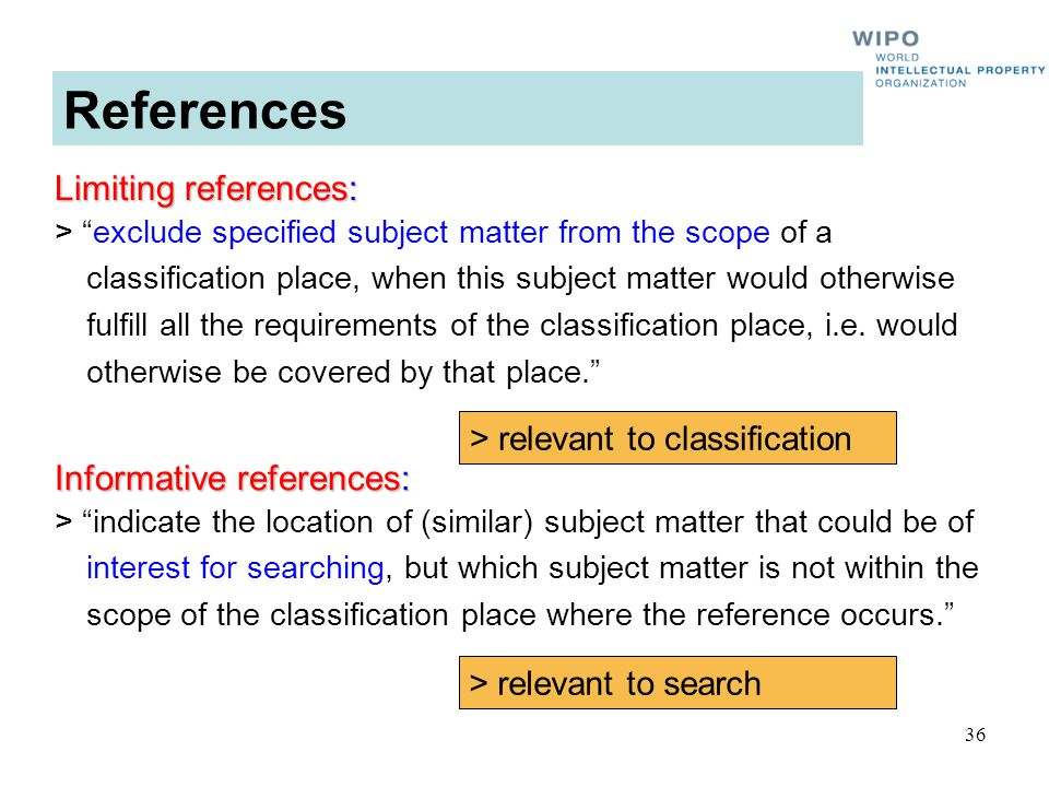 36 Limiting references: > exclude specified subject matter from the scope of a classification place, when this subject matter would otherwise fulfill