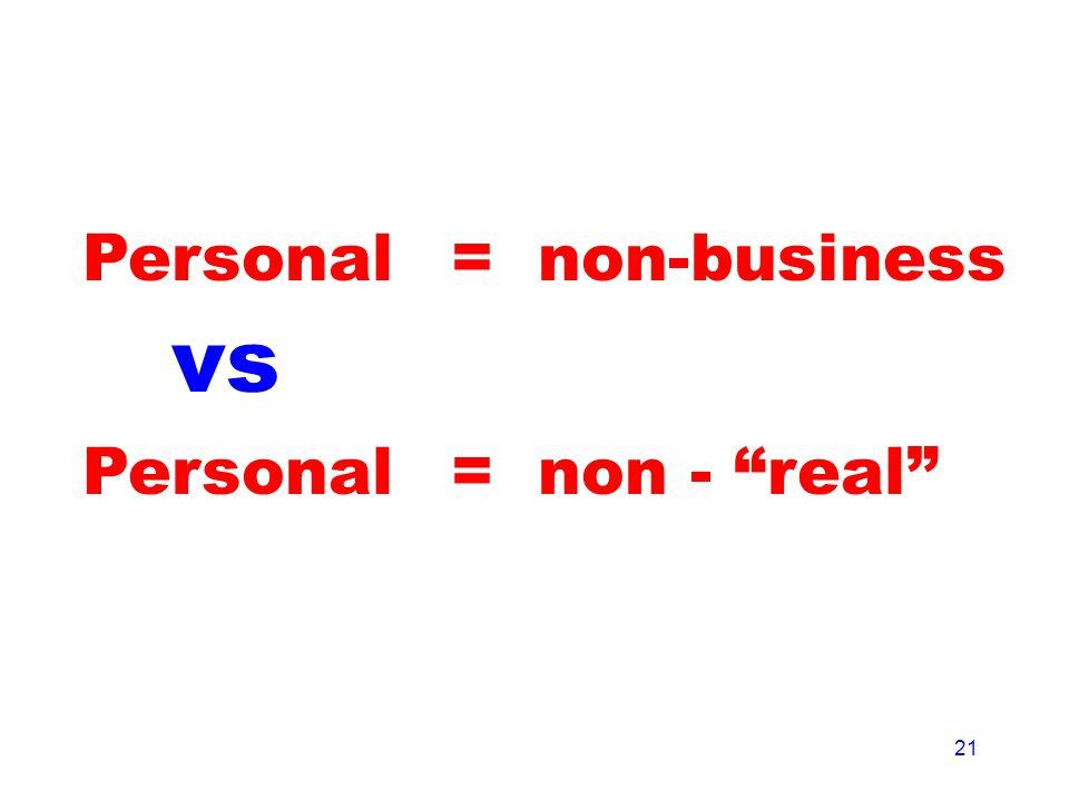 21 Personal = non-business = non - real vs