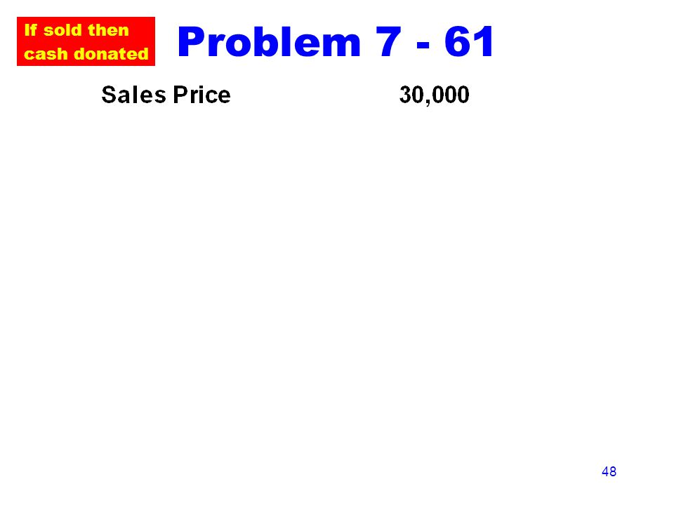 48 Problem 7 - 61 If sold then cash donated