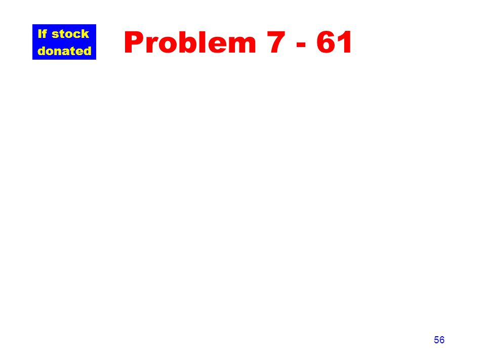 56 Problem 7 - 61 If stock donated