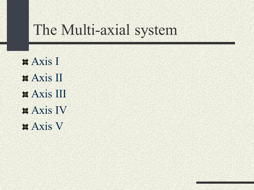 The Multi-axial system Axis I Axis II Axis III Axis IV Axis V