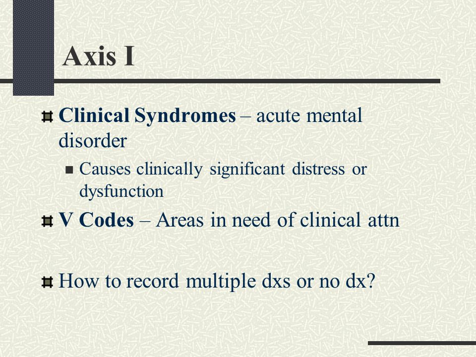 Axis I Clinical Syndromes – acute mental disorder Causes clinically significant distress or dysfunction V Codes – Areas in need of clinical attn How to record multiple dxs or no dx?