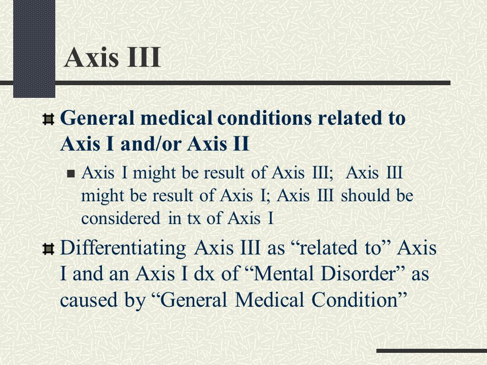 Mental Disorder d/t General Medical Condition Organized within each Mental Disorder Previous organization in earlier DSMs Hx, lab finding, exam suggest direct physiological consequence of GMC Not better accounted for by another Axis I or II dx Does not occur exclusively during a delirium