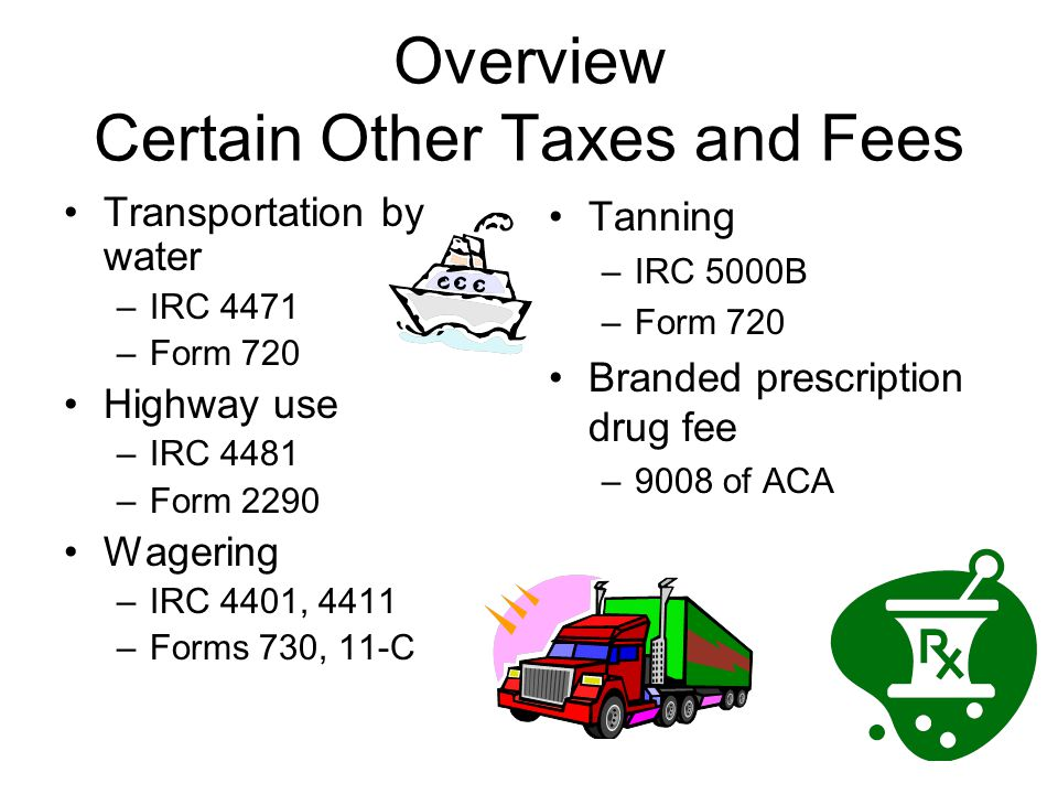 Overview Certain Other Taxes and Fees Transportation by water –IRC 4471 –Form 720 Highway use –IRC 4481 –Form 2290 Wagering –IRC 4401, 4411 –Forms 730