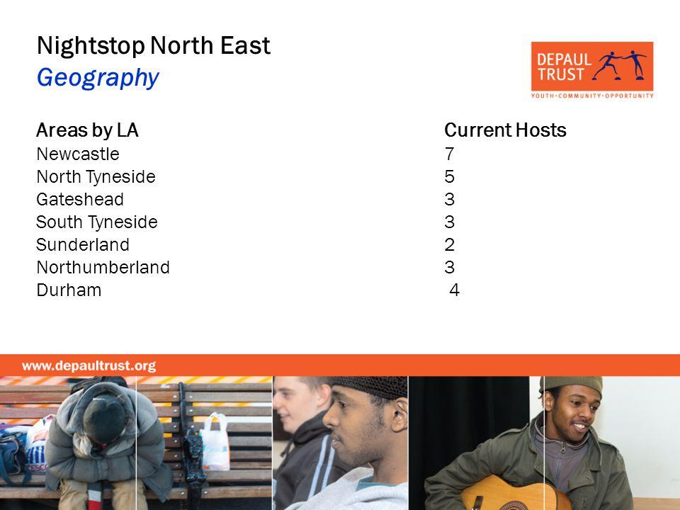 Nightstop North East Geography Areas by LACurrent Hosts Newcastle 7 North Tyneside 5 Gateshead 3 South Tyneside 3 Sunderland 2 Northumberland 3 Durham 4