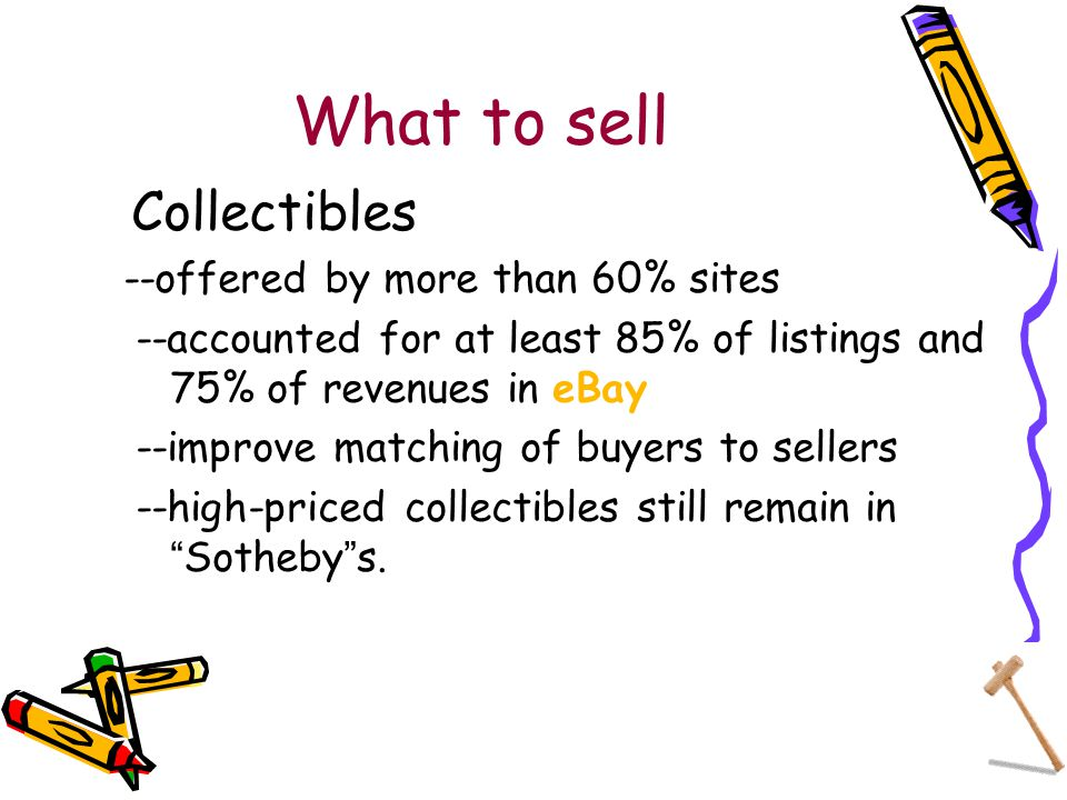 What to sell Collectibles --offered by more than 60% sites --accounted for at least 85% of listings and 75% of revenues in eBay --improve matching of buyers to sellers --high-priced collectibles still remain in Sotheby s.