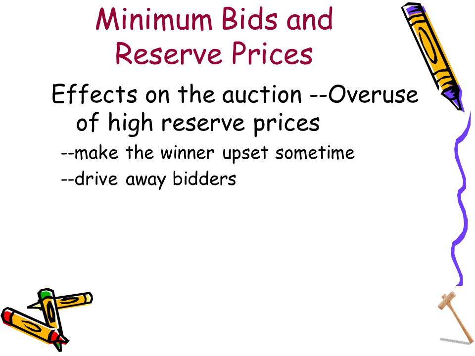 Minimum Bids and Reserve Prices Effects on the auction --Overuse of high reserve prices --make the winner upset sometime --drive away bidders