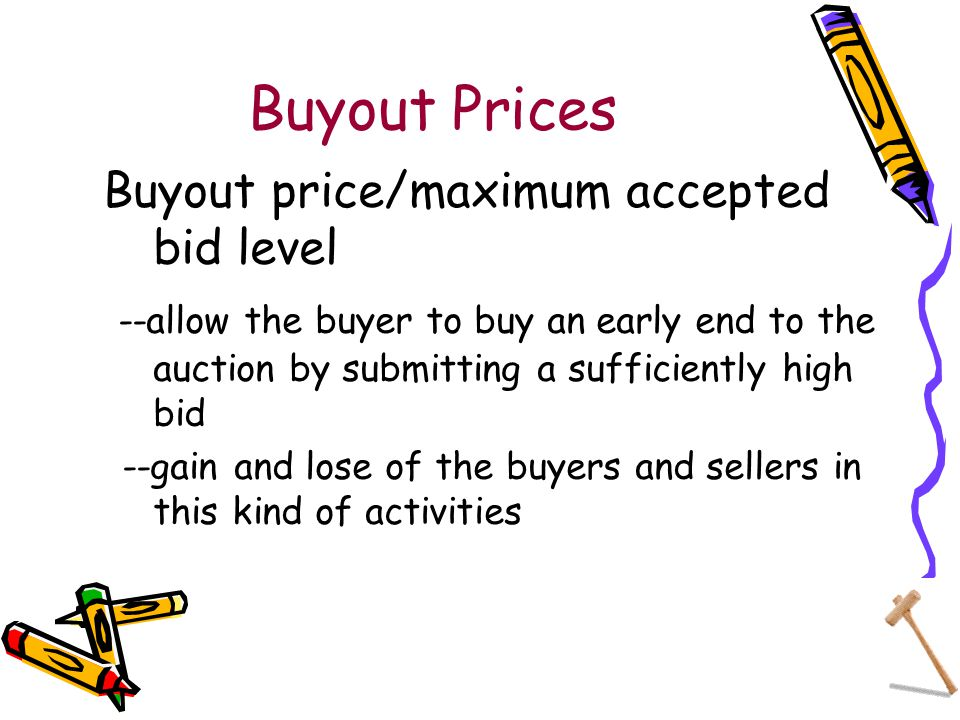 Buyout Prices Buyout price/maximum accepted bid level --allow the buyer to buy an early end to the auction by submitting a sufficiently high bid --gain and lose of the buyers and sellers in this kind of activities