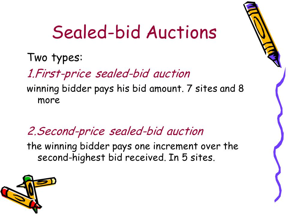 Sealed-bid Auctions Two types: 1.First-price sealed-bid auction winning bidder pays his bid amount.
