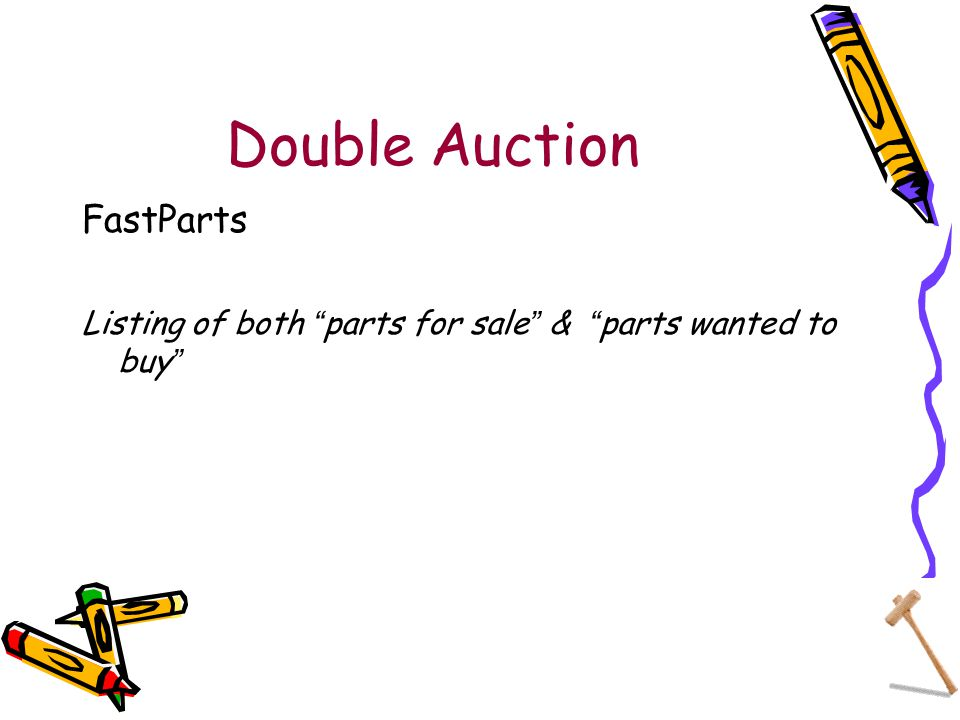 Double Auction FastParts Listing of both parts for sale & parts wanted to buy