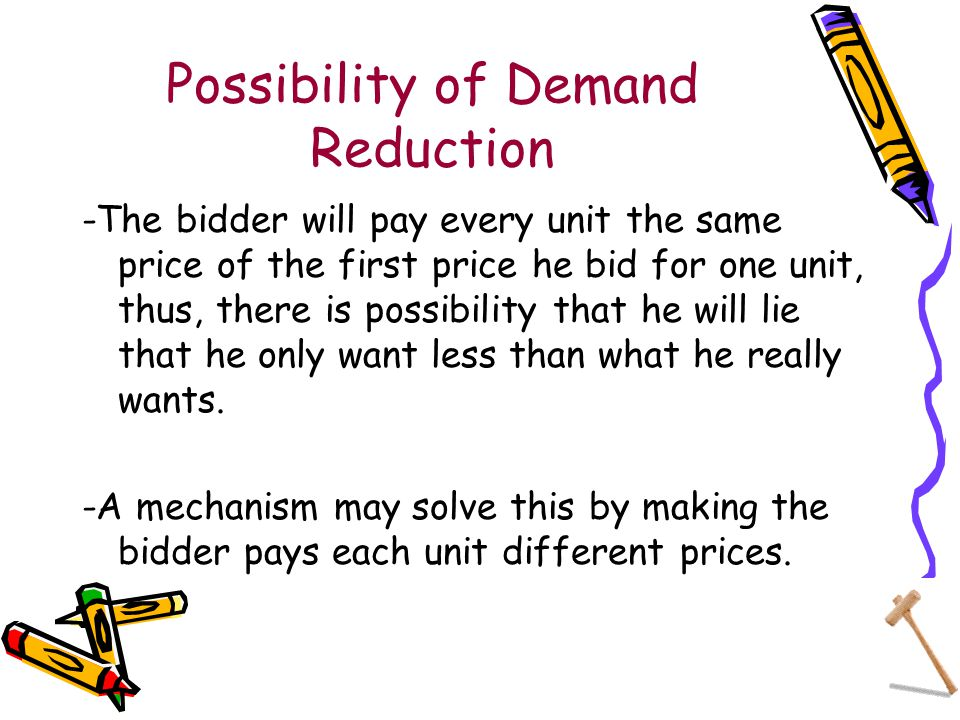 Possibility of Demand Reduction -The bidder will pay every unit the same price of the first price he bid for one unit, thus, there is possibility that he will lie that he only want less than what he really wants.