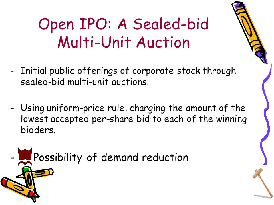 Open IPO: A Sealed-bid Multi-Unit Auction -Initial public offerings of corporate stock through sealed-bid multi-unit auctions.