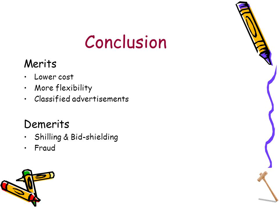 Conclusion Merits Lower cost More flexibility Classified advertisements Demerits Shilling & Bid-shielding Fraud