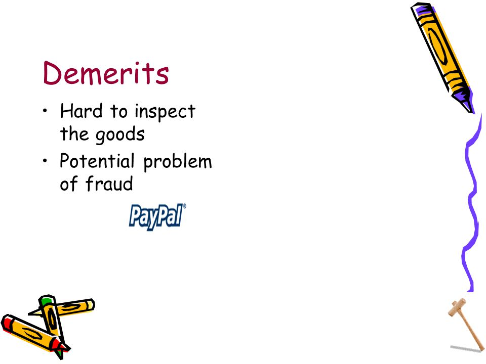 Demerits Hard to inspect the goods Potential problem of fraud