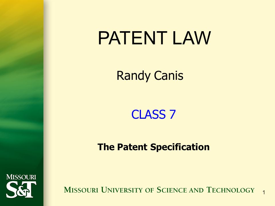 2 The Patent Specification (Chapter 9) What must the specification describe?