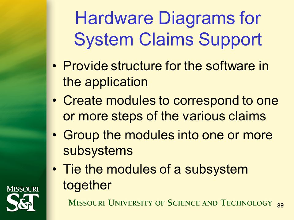 89 Hardware Diagrams for System Claims Support Provide structure for the software in the application Create modules to correspond to one or more steps