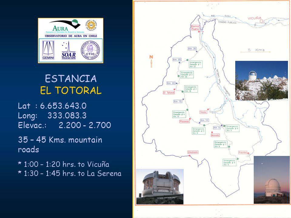 ESTANCIA EL TOTORAL Lat : 6.653.643.0 Long: 333.083.3 Elevac.: 2.200 - 2.700 35 – 45 Kms. mountain roads * 1:00 – 1:20 hrs. to Vicuña * 1:30 – 1:45 hr