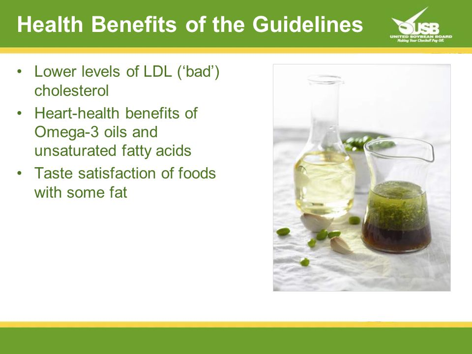 Health Benefits of the Guidelines Lower levels of LDL (bad) cholesterol Heart-health benefits of Omega-3 oils and unsaturated fatty acids Taste satisfaction of foods with some fat