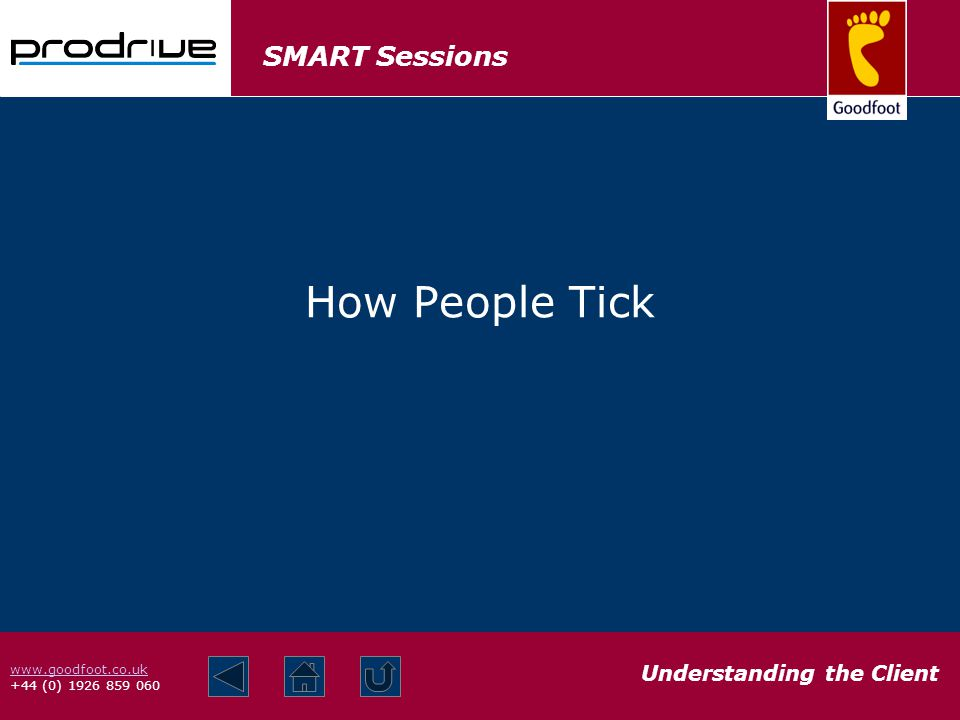 SMART Sessions Understanding the Client www.goodfoot.co.uk +44 (0) 1926 859 060 How People Tick