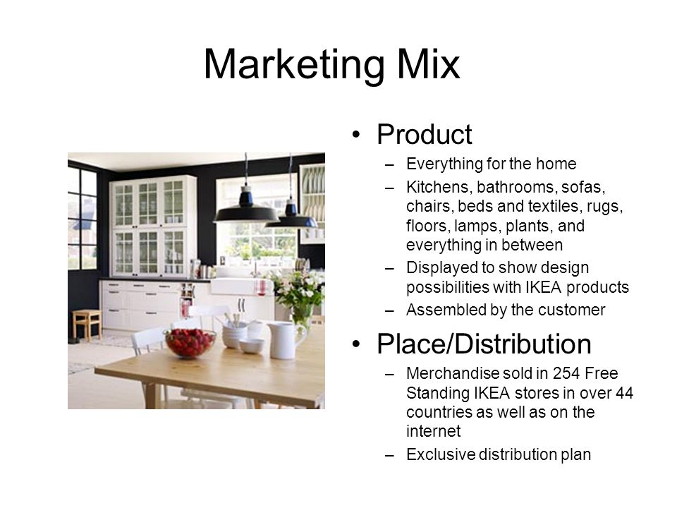 Marketing Mix Product –Everything for the home –Kitchens, bathrooms, sofas, chairs, beds and textiles, rugs, floors, lamps, plants, and everything in