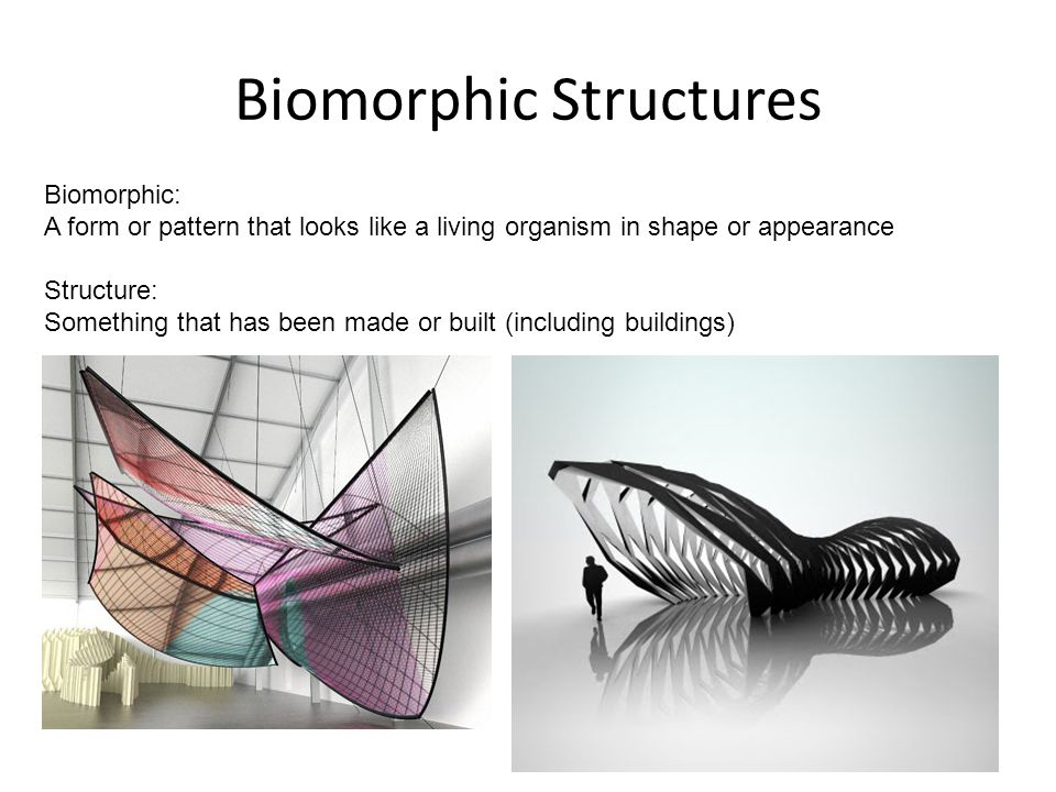 Biomorphic Structures Biomorphic: A form or pattern that looks like a living organism in shape or appearance Structure: Something that has been made or built (including buildings)