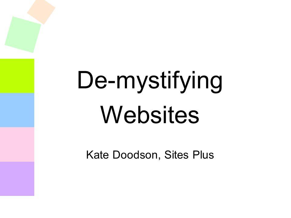 De-mystifying Websites Kate Doodson, Sites Plus