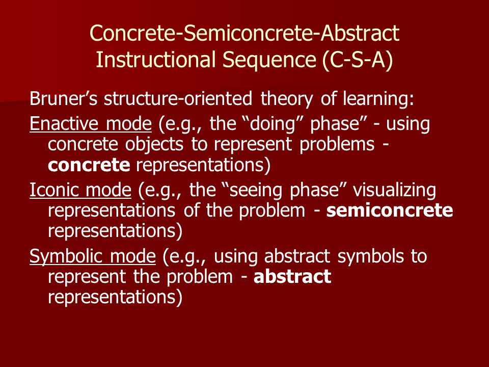 C-S-A: Empirical studies have validated CSA use with students with high incidence disabilities for: – –Whole number operations – –Word problems – –Place value – –Introductory algebra skills