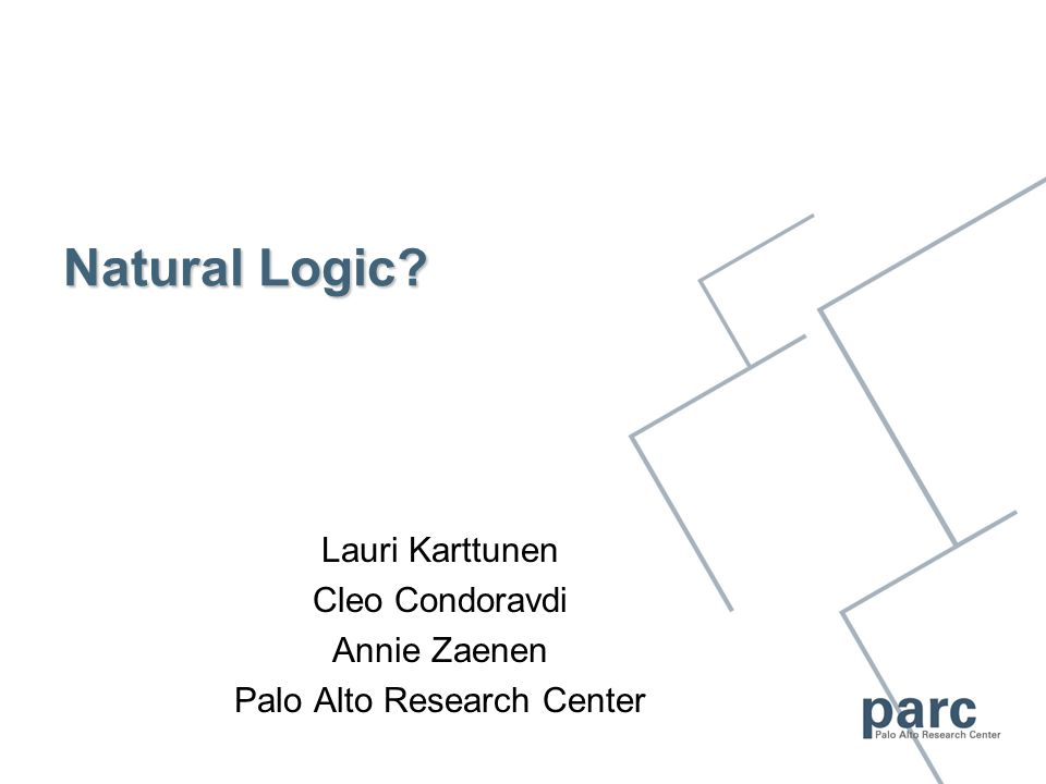 Natural Logic? Lauri Karttunen Cleo Condoravdi Annie Zaenen Palo Alto Research Center
