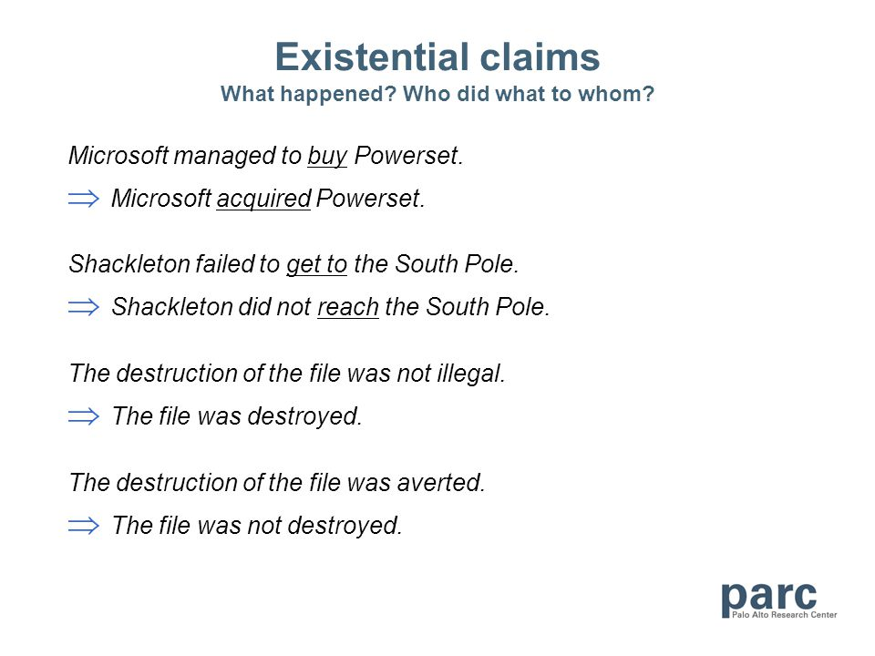 Existential claims What happened? Who did what to whom? Microsoft managed to buy Powerset. Microsoft acquired Powerset. Shackleton failed to get to th