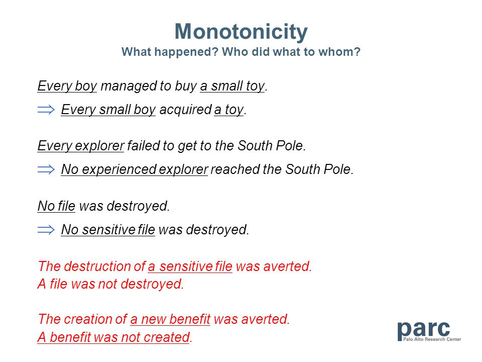 Monotonicity What happened? Who did what to whom? Every boy managed to buy a small toy. Every small boy acquired a toy. Every explorer failed to get t