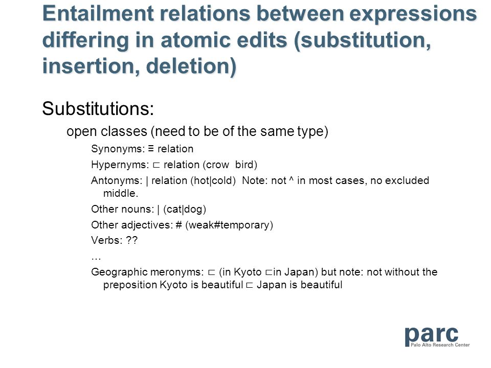 Entailment relations between expressions differing in atomic edits (substitution, insertion, deletion) Substitutions: open classes (need to be of the