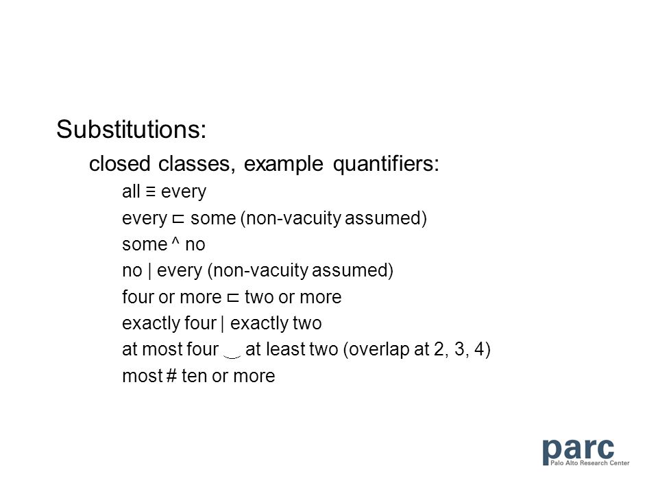 Substitutions: closed classes, example quantifiers: all every every some (non-vacuity assumed) some ^ no no | every (non-vacuity assumed) four or more