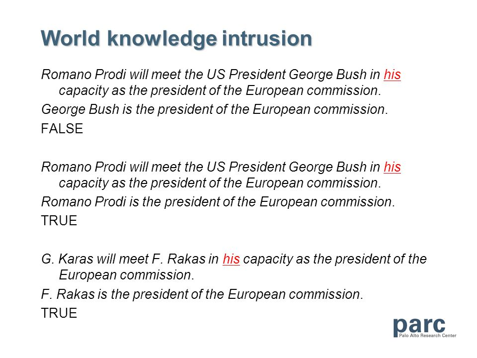 World knowledge intrusion Romano Prodi will meet the US President George Bush in his capacity as the president of the European commission. George Bush
