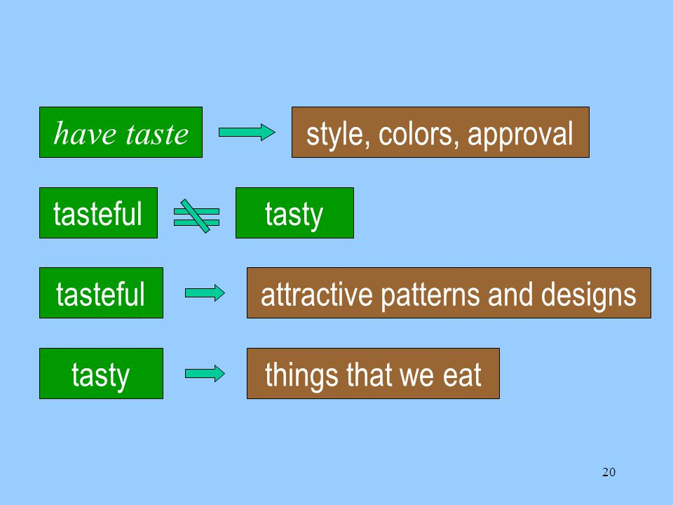 20 tastefultasty things that we eattastefulattractive patterns and designs have taste style, colors, approval