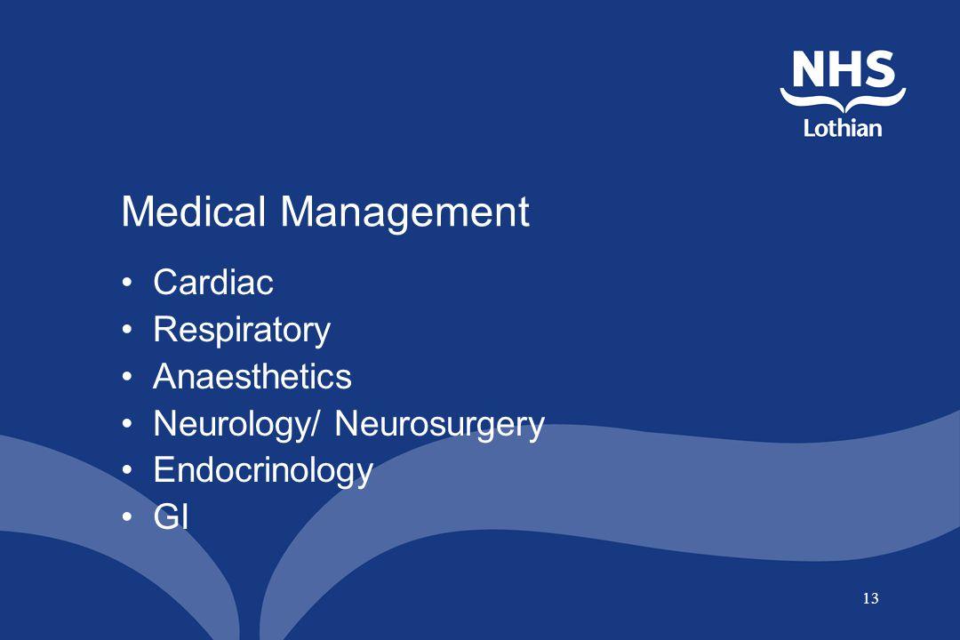 13 Medical Management Cardiac Respiratory Anaesthetics Neurology/ Neurosurgery Endocrinology GI