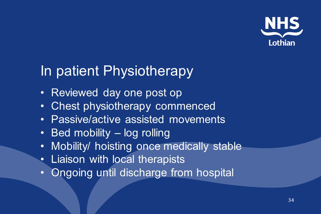 34 In patient Physiotherapy Reviewed day one post op Chest physiotherapy commenced Passive/active assisted movements Bed mobility – log rolling Mobili