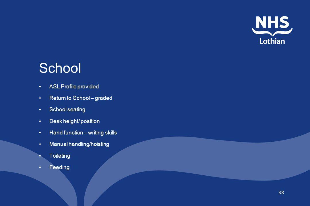 38 School ASL Profile provided Return to School – graded School seating Desk height/ position Hand function – writing skills Manual handling/hoisting