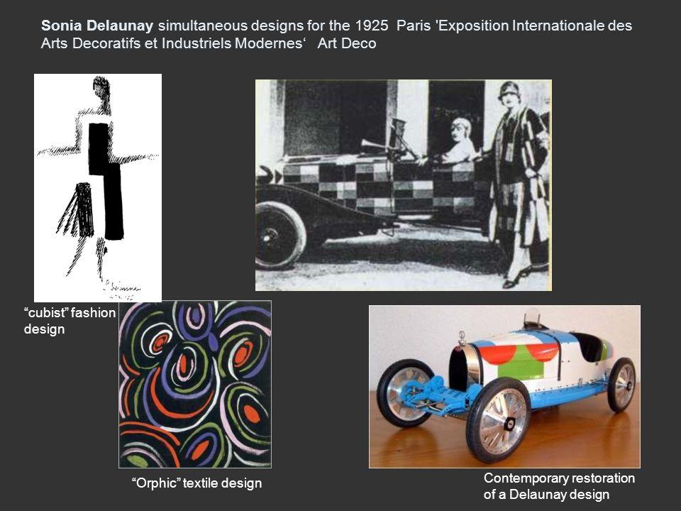 Sonia Delaunay simultaneous designs for the 1925 Paris 'Exposition Internationale des Arts Decoratifs et Industriels Modernes Art Deco Contemporary re