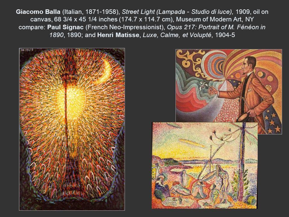 Giacomo Balla (Italian, 1871-1958), Street Light (Lampada - Studio di luce), 1909, oil on canvas, 68 3/4 x 45 1/4 inches (174.7 x 114.7 cm), Museum of