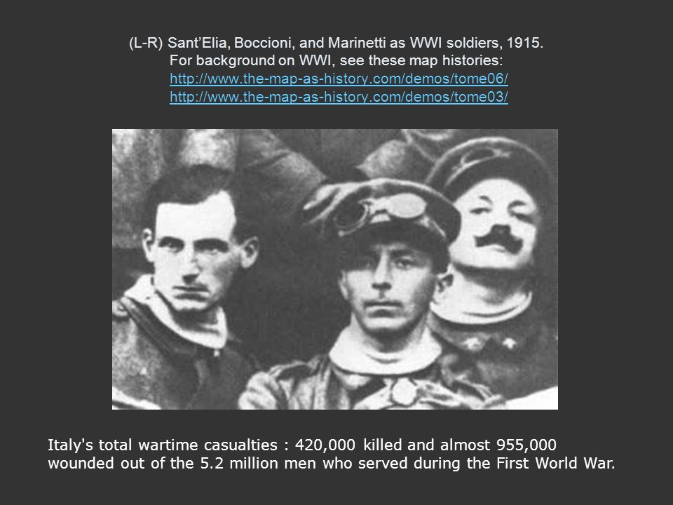 (L-R) SantElia, Boccioni, and Marinetti as WWI soldiers, 1915. For background on WWI, see these map histories: http://www.the-map-as-history.com/demos