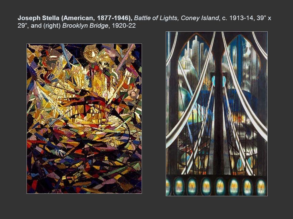 Joseph Stella (American, 1877-1946), Battle of Lights, Coney Island, c. 1913-14, 39 x 29, and (right) Brooklyn Bridge, 1920-22