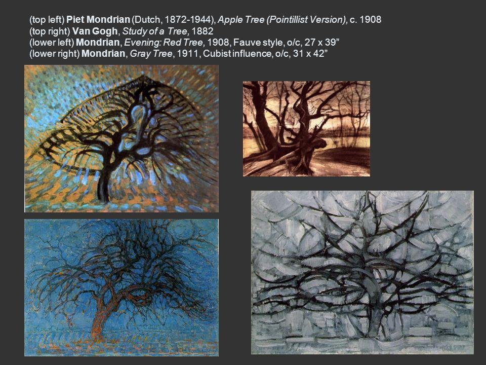 (top left) Piet Mondrian (Dutch, 1872-1944), Apple Tree (Pointillist Version), c. 1908 (top right) Van Gogh, Study of a Tree, 1882 (lower left) Mondri
