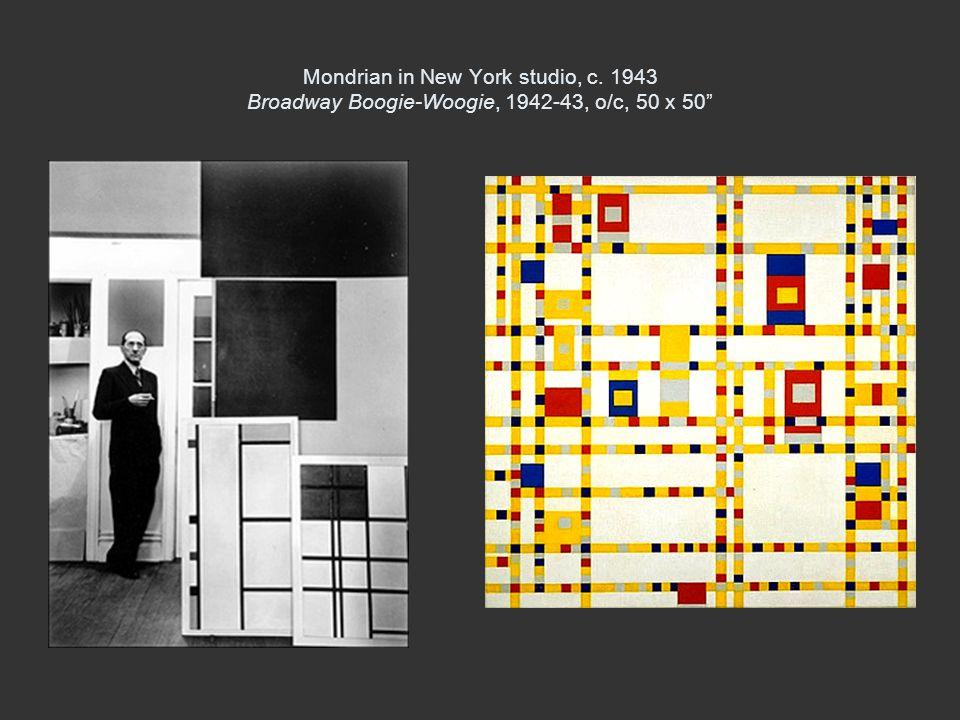 Mondrian in New York studio, c. 1943 Broadway Boogie-Woogie, 1942-43, o/c, 50 x 50